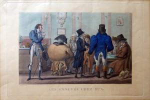 Francia, 1830 circa. Litografia stampata in colore d'epoca, cm 30 x 44 (alla lastra) più margini. Scena caricaturale alla maniera francese in cui si raffigurano buffi e grotteschi personaggi intorno a un atavolo da gioco. Esemplare uniformemente ingiallito, in e vivace coloritura. € 100